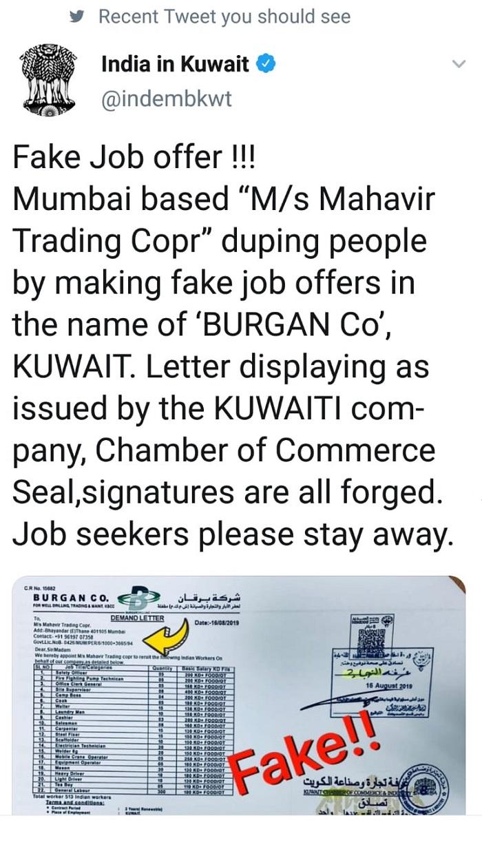 Indian embassy warns of fake company in Mumbai | TimesKuwait